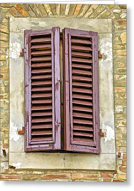 Shadow World Photography Greeting Cards - Brown Wood Shutters on an Exposed Brick Wall in Tuscany Greeting Card by David Letts