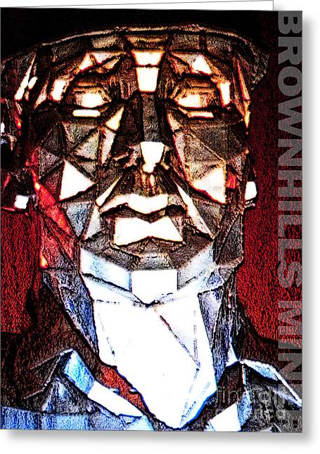 Sweat Mixed Media Greeting Cards - Brownhills Miner Face Greeting Card by Neil Finnemore
