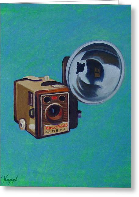 Camera Paintings Greeting Cards - Brownie Box Camera Greeting Card by The Vintage Painter