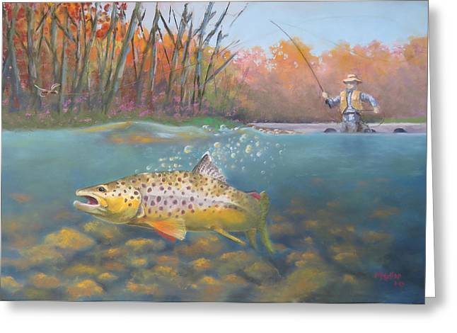 Trout Fishing Pastels Greeting Cards - Brownie Roll Greeting Card by Marcus Moller