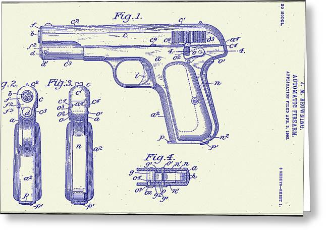 Bill Cannon Drawings Greeting Cards - Browning Automatic Patent Greeting Card by Bill Cannon