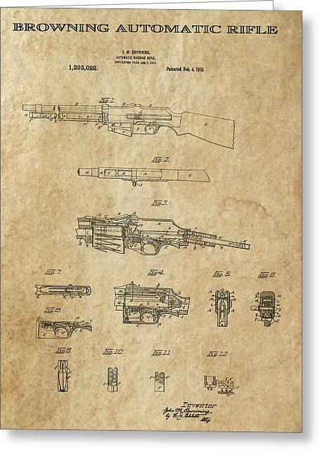 Tommy Gun Greeting Cards - Browning Automatic Rifle 2 Patent Art 1919 Greeting Card by Daniel Hagerman