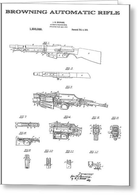 Tommy Gun Greeting Cards - Browning Automatic Rifle 3 Patent Art 1919 Greeting Card by Daniel Hagerman