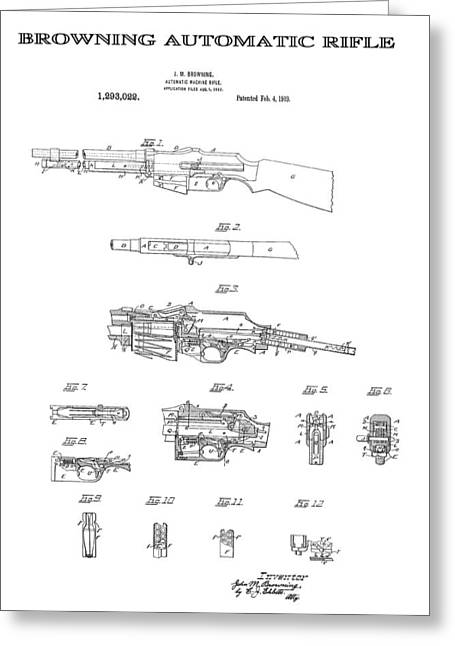 Historical Blueprint Greeting Cards - Browning Automatic Rifle 4 Patent Art 1919 Greeting Card by Daniel Hagerman