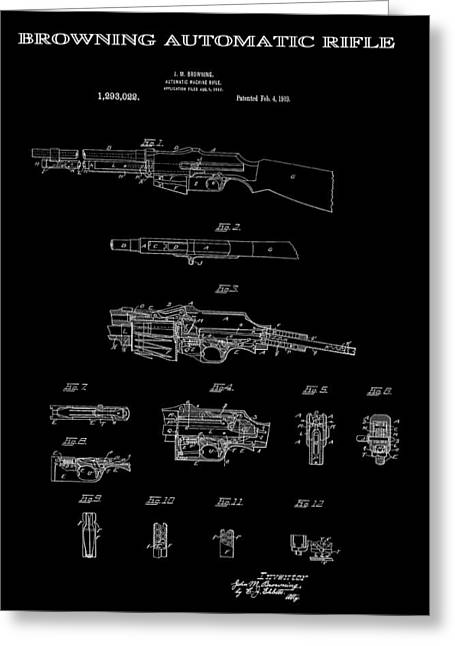 Tommy Gun Greeting Cards - Browning Automatic Rifle Patent Art 1919 Greeting Card by Daniel Hagerman