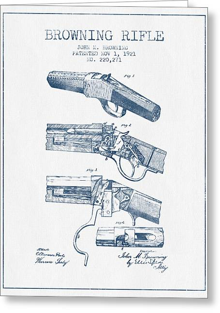 Browning Greeting Cards - Browning Rifle Patent Drawing from 1921 -  Blue Ink Greeting Card by Aged Pixel