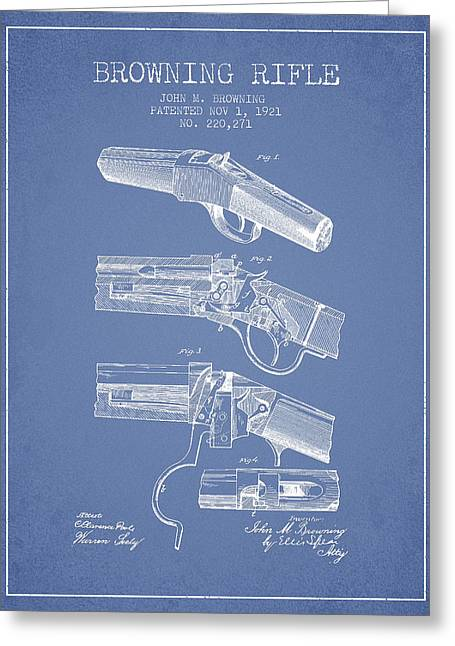 Browning Greeting Cards - Browning Rifle Patent Drawing from 1921 - Light Blue Greeting Card by Aged Pixel