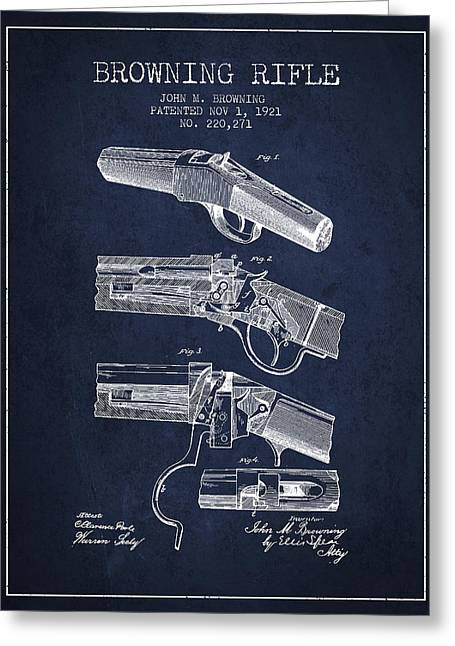 Rifles Greeting Cards - Browning Rifle Patent Drawing from 1921 - Navy Blue Greeting Card by Aged Pixel