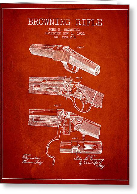 Browning Greeting Cards - Browning Rifle Patent Drawing from 1921 - Red Greeting Card by Aged Pixel