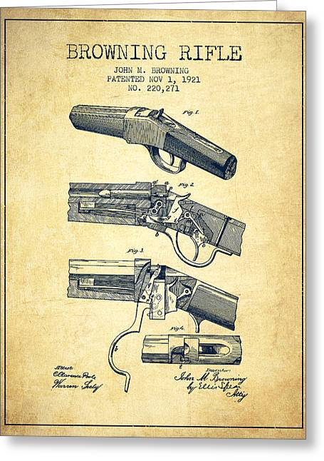 Browning Greeting Cards - Browning Rifle Patent Drawing from 1921 - Vintage Greeting Card by Aged Pixel