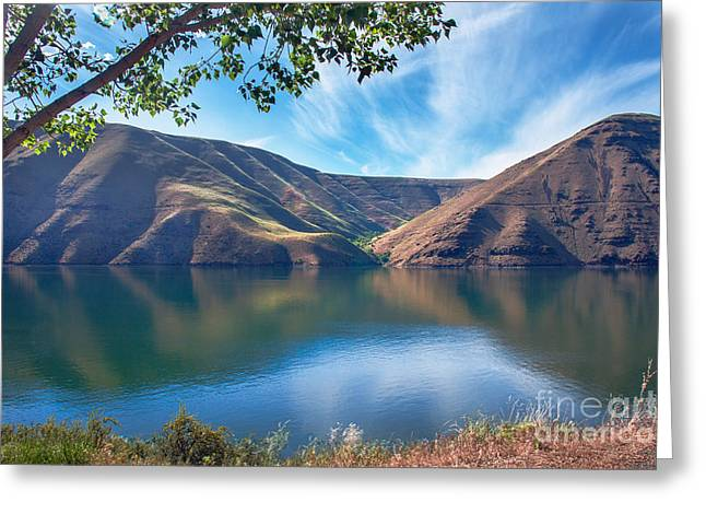 Haybale Greeting Cards - Brownlee Reservoir Greeting Card by Robert Bales