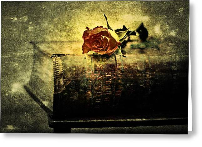 1874 Greeting Cards - Browns Leather Bible and Rose Greeting Card by Anne Macdonald