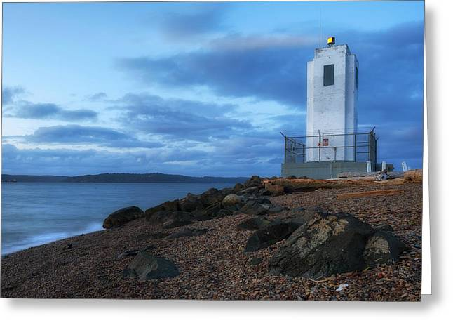 Commencement Bay Greeting Cards - Browns Point Light Greeting Card by Ryan Manuel