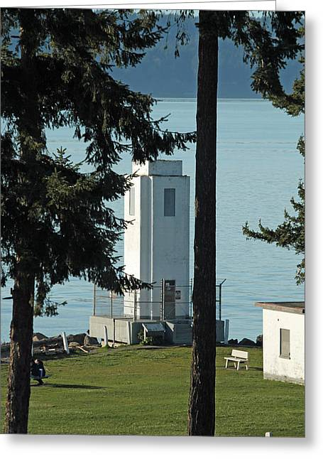 Commencement Bay Greeting Cards - Browns Point Lighthouse Greeting Card by E Faithe Lester
