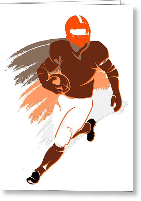 Touchdown Greeting Cards - Browns Shadow Player2 Greeting Card by Joe Hamilton