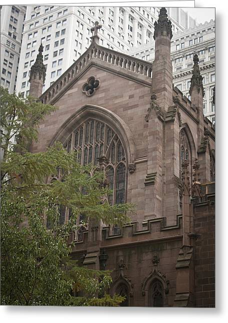Occupy Greeting Cards - Brownstone Church Greeting Card by Teresa Mucha