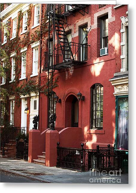 New York City Fire Escapes Greeting Cards - Brownstone Greeting Card by John Rizzuto
