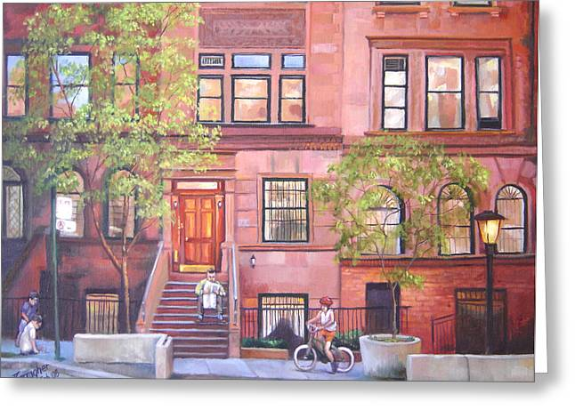 Basement Paintings Greeting Cards - Brownstone Spring Greeting Card by Joseph Carragher