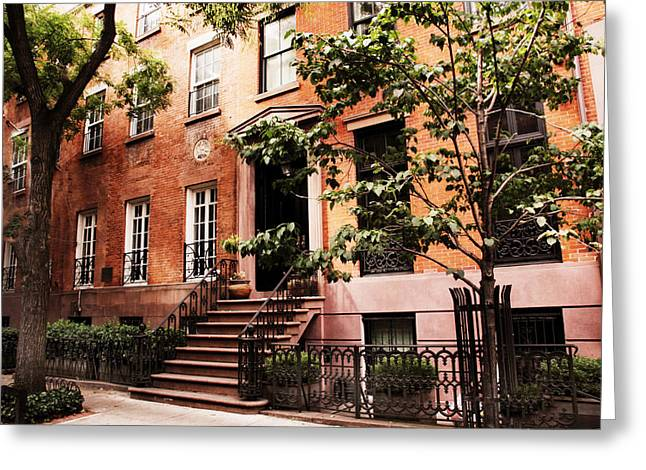 Brownstones Of Greenwich Village Greeting Card by Jessica Jenney
