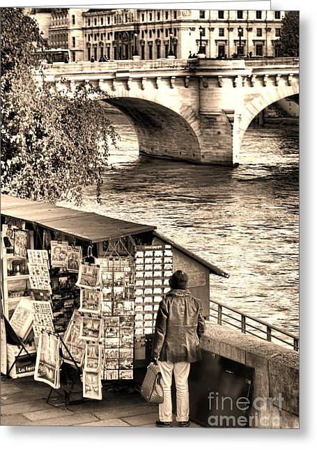 Shopper Greeting Cards - Browsing the Outdoor Bookseller  Greeting Card by Olivier Le Queinec