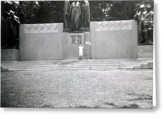 Confederate Monument Greeting Cards - Bruce in front of a Confederate Monument Greeting Card by Paul M Summitt