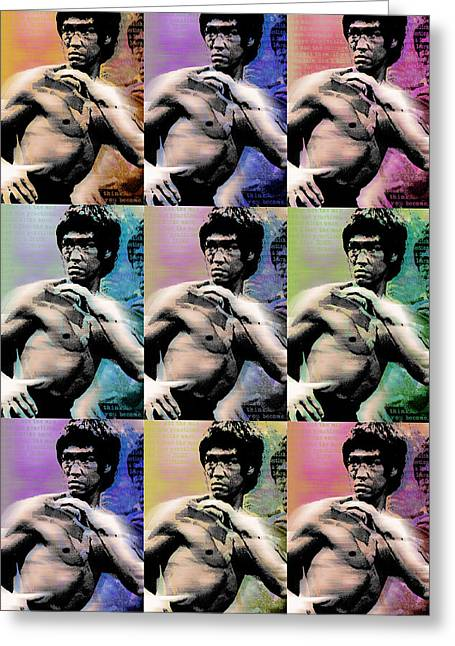Jet Star Greeting Cards - Bruce Lee and Quotes Repeat Greeting Card by Tony Rubino