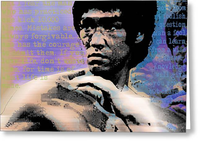 Jet Star Greeting Cards - Bruce Lee and Quotes Square Greeting Card by Tony Rubino