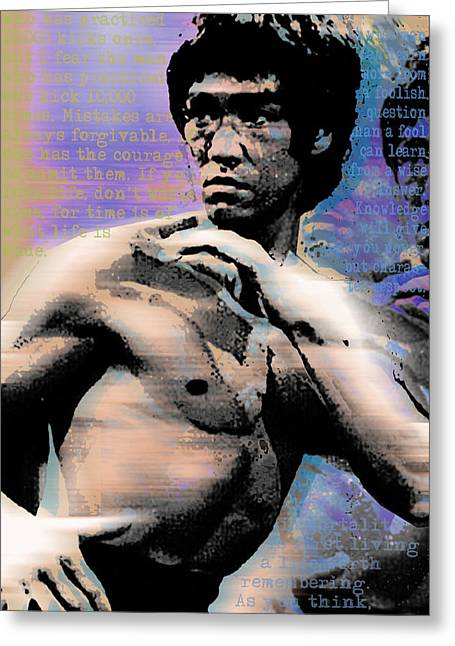Actions Mixed Media Greeting Cards - Bruce Lee and Quotes Greeting Card by Tony Rubino