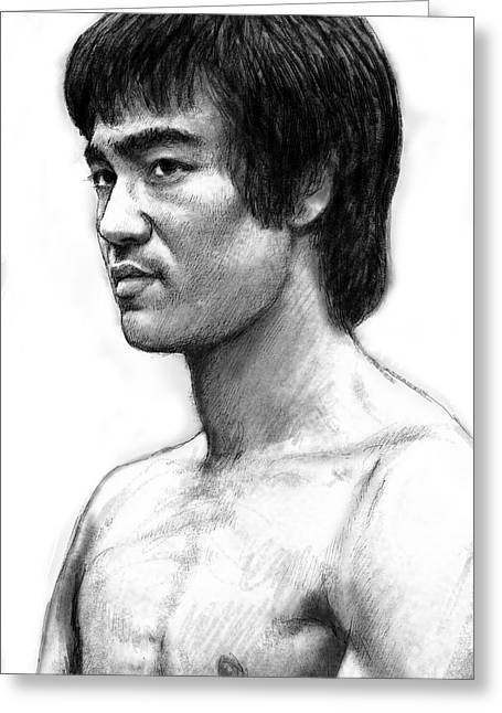 Charcoal Greeting Cards - Bruce lee art drawing sketch portrait Greeting Card by Kim Wang