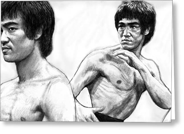 Traditional Media Greeting Cards - Bruce Lee art drawing sketch poster Greeting Card by Kim Wang