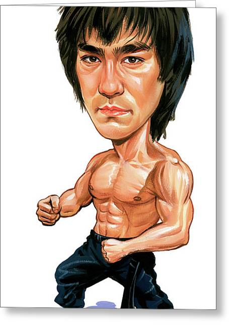 Awesome Greeting Cards - Bruce Lee Greeting Card by Art