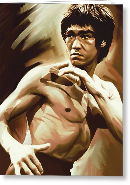 Bruce Lee Artwork Greeting Card by Sheraz A