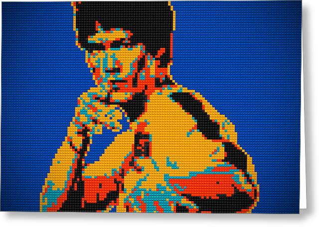 Lego Greeting Cards - Bruce Lee Lego pop art digital painting Greeting Card by Georgeta Blanaru