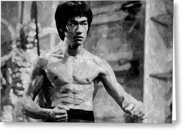 Bruce Photos Greeting Cards - Bruce Lee Painting Greeting Card by Florian Rodarte