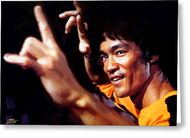 Portrait Digital Greeting Cards - Bruce Lee Greeting Card by Paul Tagliamonte