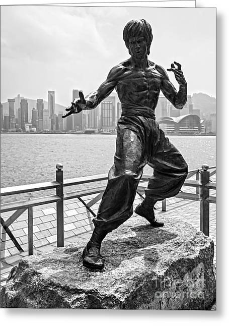 Sha Greeting Cards - Bruce Lee statue - Hong Kong  Greeting Card by Luciano Mortula