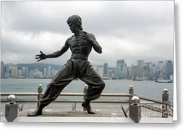 Sha Greeting Cards - Bruce Lee statue Greeting Card by Rostislav Bychkov
