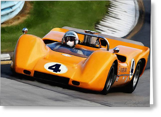 Bruce Paintings Greeting Cards - Bruce McLaren Greeting Card by Peter Chilelli