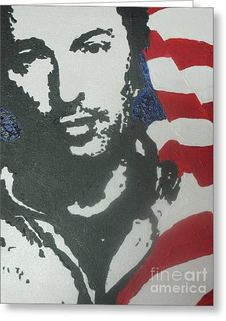 Bruce Springsteen Paintings Greeting Cards - Bruce Greeting Card by Moira Ferguson