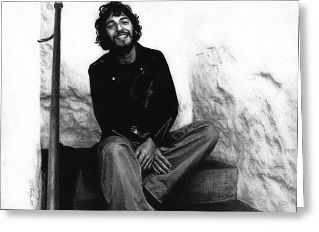 On A Walk Greeting Cards - Bruce Springsteen 1975 Greeting Card by Justin Clark