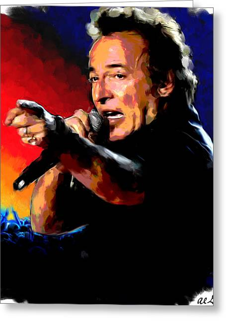 Star Greeting Cards - Bruce Springsteen Greeting Card by Allen Glass