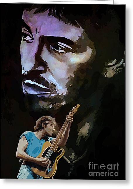Bruce Springsteen Art Greeting Cards - Bruce Springsteen. Greeting Card by Andrzej Szczerski
