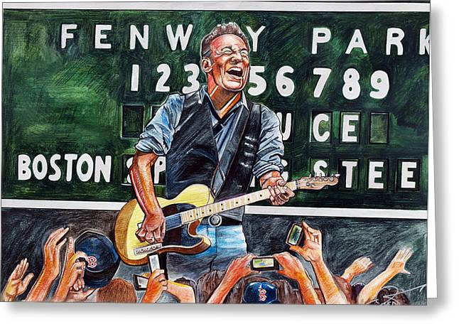 Boston Red Greeting Cards - Bruce Springsteen at Fenway Park Greeting Card by Dave Olsen