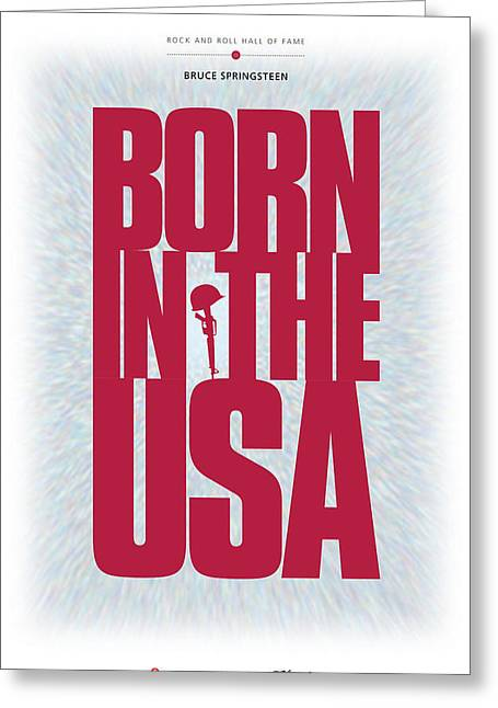 Us Rock And Roll Hall Of Fame Greeting Cards - Bruce Springsteen - Born In The USA Greeting Card by David Davies
