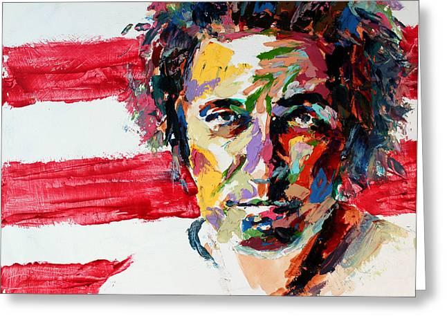 Springsteen Paintings Greeting Cards - Bruce Springsteen Greeting Card by Derek Russell