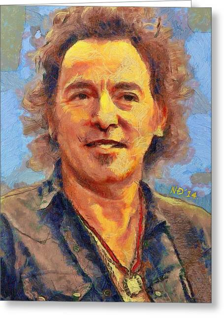 Bruce Springsteen Paintings Greeting Cards - Bruce Springsteen I Greeting Card by Nikola Durdevic
