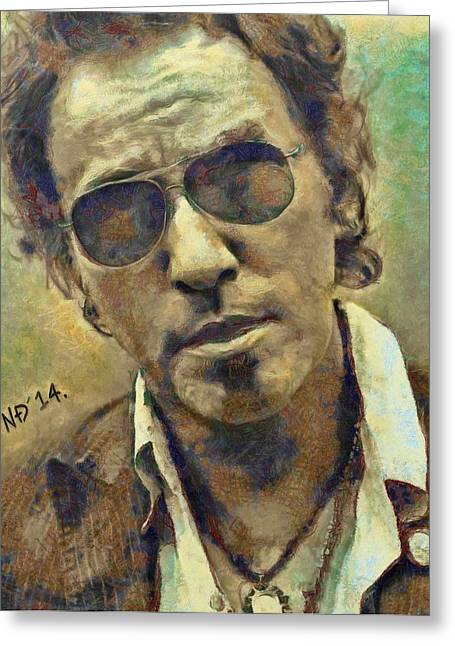 Bruce Springsteen Paintings Greeting Cards - Bruce Springsteen II Greeting Card by Nikola Durdevic