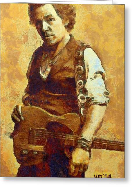 Lucent Dreaming Greeting Cards - Bruce Springsteen III Greeting Card by Nikola Durdevic
