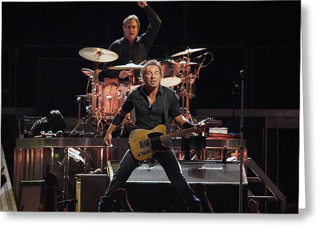 E Street Band Greeting Cards - Bruce Springsteen in Concert Greeting Card by Nomad Art And  Design