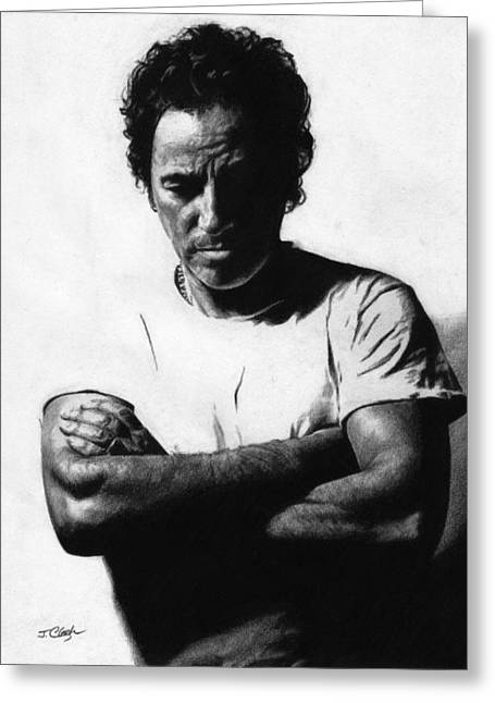 Dreams Drawings Greeting Cards - Bruce Springsteen  Greeting Card by Justin Clark